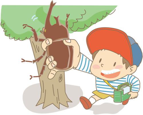 虫を捕る少年 昆虫採集